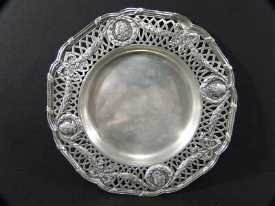 Antq French Medallion Bow Swag Pierced Sterling Silver Wine Bottle COASTER Dish