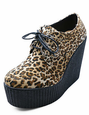 Ladies Leopard Platform Creepers Lace-Up Wedge Brogues Loafers Shoes Uk 3-8