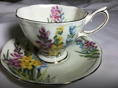 Royal Albert Bone China Hand Painted Cup /saucer England     Cream/hollyhocks