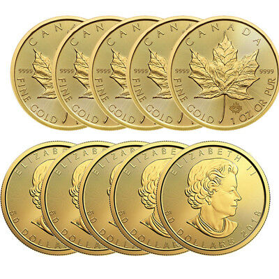 Lot of 10 Gold 1 oz Canadian Gold Maple Leaf Random Year Coins - BANK WIRE ONLY