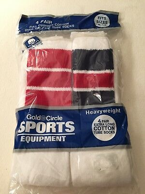 Vintage Gold Circle 80s Over The Calf Men's TUBE SOCKS 9-12. Four Bagged Socks.