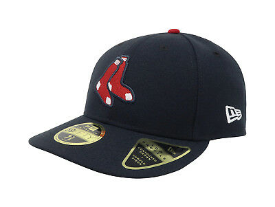 New Era 59Fifty Hat Mens MLB Boston Red Sox Low Profile Navy Blue Socks 5950 Cap