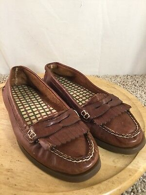 Women's Sperry Top Sider Brown Leather Loafer Boat Shoes Sz 8.5M