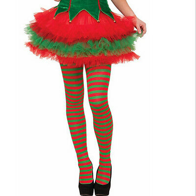 USA Elf Tights Striped Red and Green Christmas Fancy Dress Costume B1