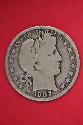 1907 P Barber Liberty Half Dollar Exact Coin Pictured Flat Rate Shipping OCE 446