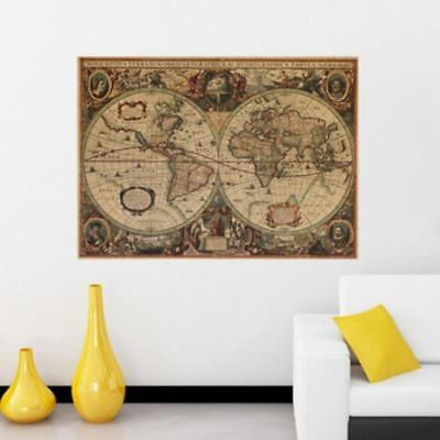 World Map Office Supplies Detailed Antique Poster Wall Chart Retro Paper J