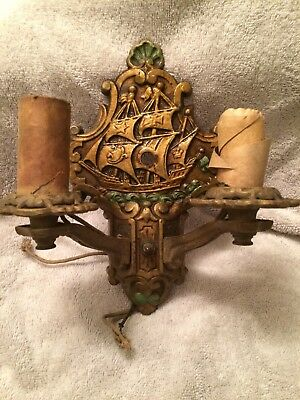 Antique Vintage Cast Iron Wall Light Sconce Two Bulb