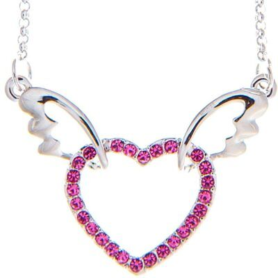 "Rhodium Plated Necklace with Winged Heart Design with a 16"" Extendable Chain and"