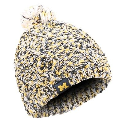 356438d1db7 Michigan Wolverines Chunky Knit Light Up Beanie Winter Hat Toque Pom Women s