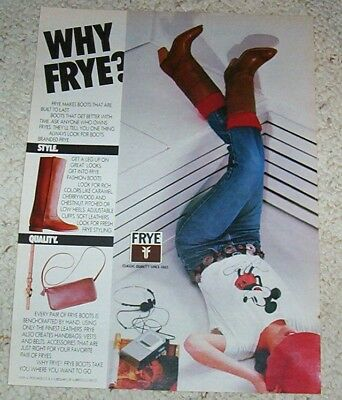 1982 vintage ad - Frye Cowboy Western Boots CUTE Girl jeans PRINT AD