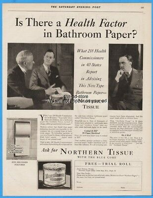 1929 Northern Tissue Toilet Paper Green Bay WI 218 Health Commissioners Print Ad