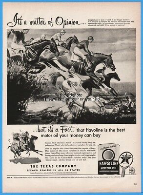 1952 Texaco Havoline Motor Oil Steeplechase Horse Race Polo Art Magazine Ad