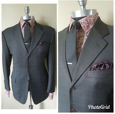 5eea5a9d951c  1395 Canali Bespoke Quality Gray Window Pane Plaid Jacket Blazer Mens40  50E 5Uk