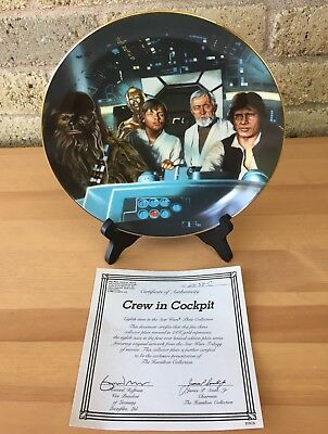The Hamilton Collection Star Wars Plate Crew in Cockpit 1987
