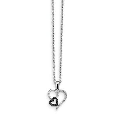 Sterling Silver Black and White Diamond Heart Pendant New