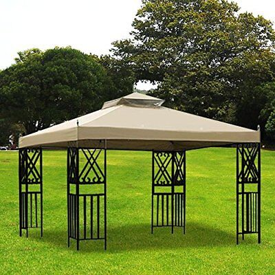 12x10' ft Gazebo Canopy Top Replacement 2 Tiers Patio Pavilion Sunshade Cover US