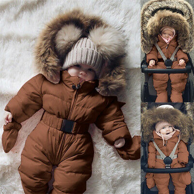 9de9c5dd1b88 HOT TODDLER BABY Boy Girl Winter Romper Jacket Hooded Jumpsuit Thick ...