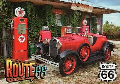 Old Car at Gas Pump on Route 66, Firestone & Coca Cola Sign, Oldtimer - Postcard