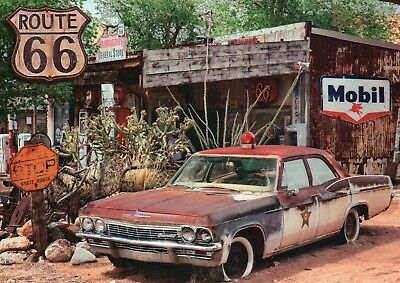 Old Police Car Route 66 Gas Station Mobil Sign Illinois to California - Postcard