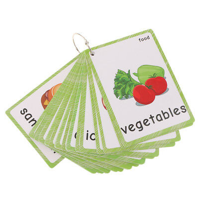 B Blesiya 30Pcs Kids English /& Chinese Word Learning Flashcards Preschool Education Delicious Food as described