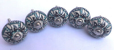 LOT of 5 Floral Hand Painted Ceramic Cupboard Wardrobe Cabinet Drawer pull