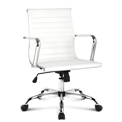 Executive High Back Mesh Computer Desk Office Chair PU Leather Tilt White Seat