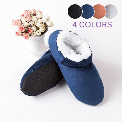 Men's Plush Home Slippers Winter Warm Indoor Ankle Boots Shoes Booties 4 Colors