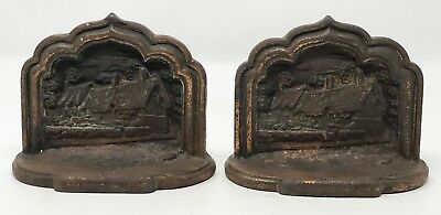 Pair Vintage Antique Shakespeare House Stratford on Avon Cast Iron Bookends SCP