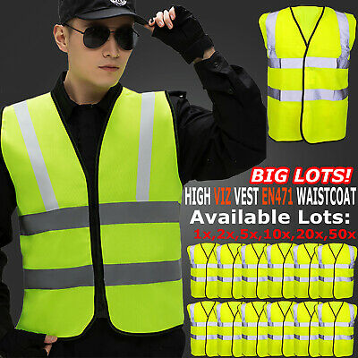 Hi Vis Safety Vest Waistcoat High Visibility Reflective Fluorescent Yellow Viz