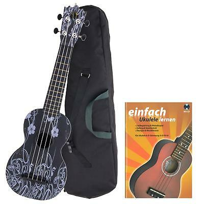 Sopran Ukulele Black Beauty Uke Hawaii Abs Kunststoff Outdoor Tasche Set + Noten