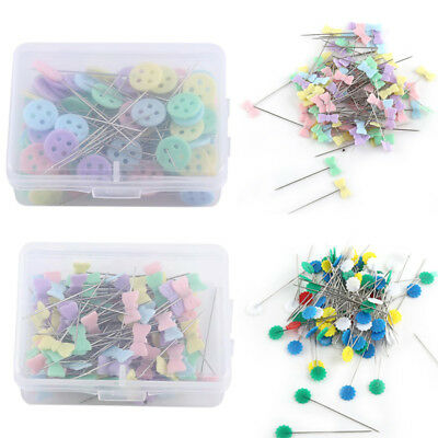 100 Pcs Button Flower Bow Tie Pins DIY Quilting Sewing Patchwork Hand Craft Tool