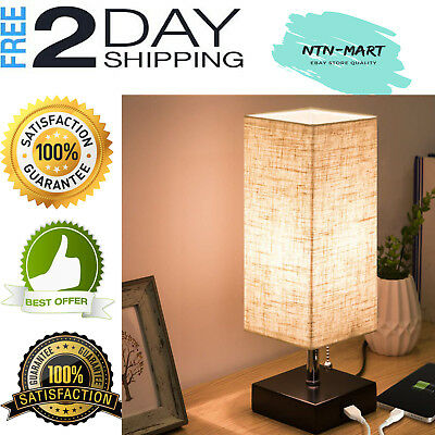 USB Table Lamp Modern Design USB Charging Port Wooden Black Fabric for Bedroom