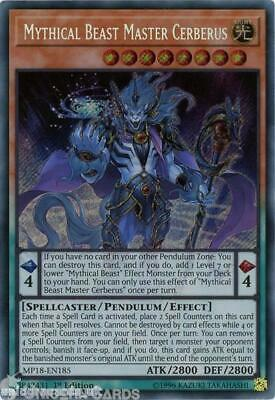 MP18-EN185 Mythical Beast Master Cerberus Secret Rare 1st Edition Mint YuGiOh Ca