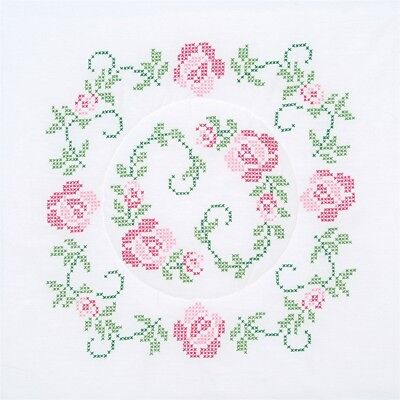 """Jack Dempsey Stamped White Quilt Blocks 18""""x18"""" 6/pkg-xx Circle Of Roses"""
