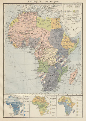 COLONIAL AFRICA Afrique. League of Nations Mandates. Ethnicity 1929 old map