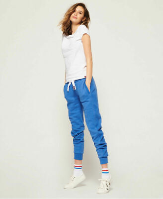 New Womens Superdry Orange Label Slim Joggers Boardwalk Blue Marl