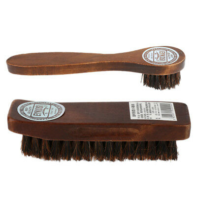 2x Professional Practical HorseHair Shoe Shine Polish Buffing Brush Wooden