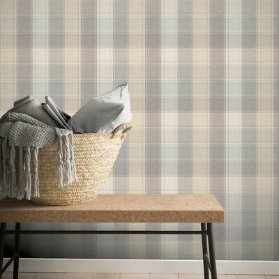 Arthouse Country Check Grey and Yellow Tartan Wallpaper 901902
