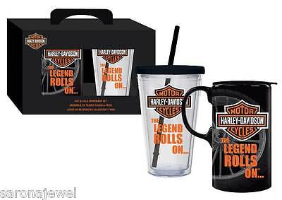 HARLEY DAVIDSON Hot & Cold MUG & CUP Drinkware SET Auth/Licensed NEW IN GIFT BOX