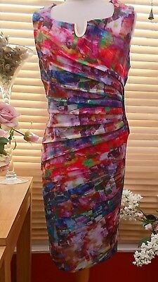 "Joseph Ribkoff Pink Mix Stretch To Fit Rouched Dress Size 18 (Chest 42"")"