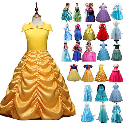 Princess Belle Cinderella Costume Party Long Gown Dress Up Frozen Girl Kids Baby