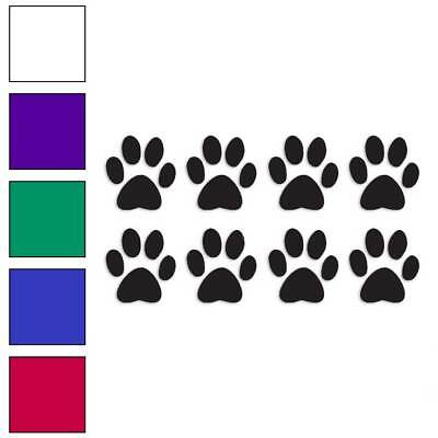 Eight Dog Paw Prints Decal Sticker Choose Color + Size #216