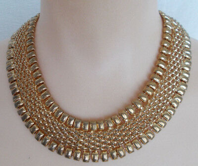 Vintage Necklace Gold Tone Egyptian Cleopatra Style Intricate Metalwork Jewelry