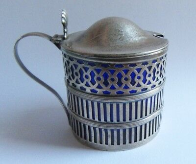 Webster Sterling Silver Mustard Pot w Cobalt Blue Glass Liner Vintage