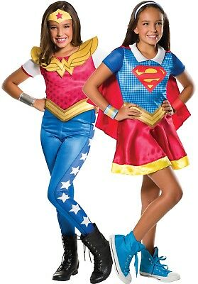 Girls Twin Pack Wonder Woman Supergirl Gift Box Hero Fancy Dress Costume Outfit