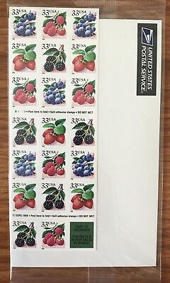 US Stamps Fruit Berries 33¢  Sheet  of 20 Face Value 6.60