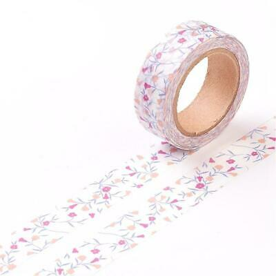 1 x 10m Roll Mixed/White Adhesive 15mm Flower Washi Tape Y13125
