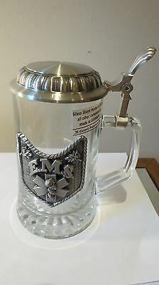 NEW VTG Tags Glass Italy German Beer Stein Pewter EMS M.Cornell Medical Bar