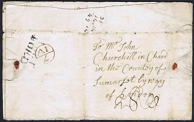 1768 Norfolk PH THETFORD (NK412) and fine 7/IV Bishop Mark to CHURCHILL in Chard
