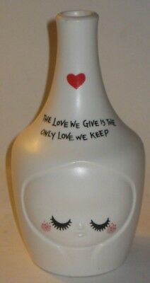 KAWAII Vase w/THE LOVE WE GIVE IS THE ONLY LOVE WE KEEP Vintage JAPAN Pottery